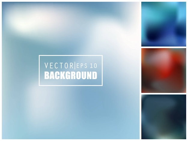Multicolored blurred background set. Premium Vector
