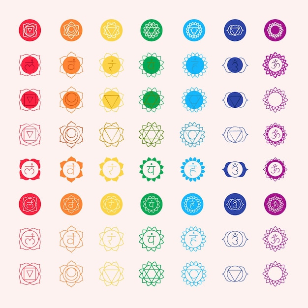 Multicolored chakras set Free Vector