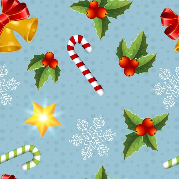 青の色とりどりのクリスマスオブジェクトシームレスパターン 無料ベクター