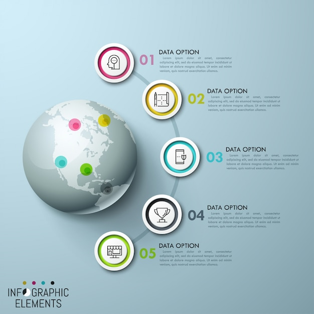 Multicolored circular elements, icons inside and numbered text boxes placed in semicircle way around globe with map pins of corresponding color Premium Vector