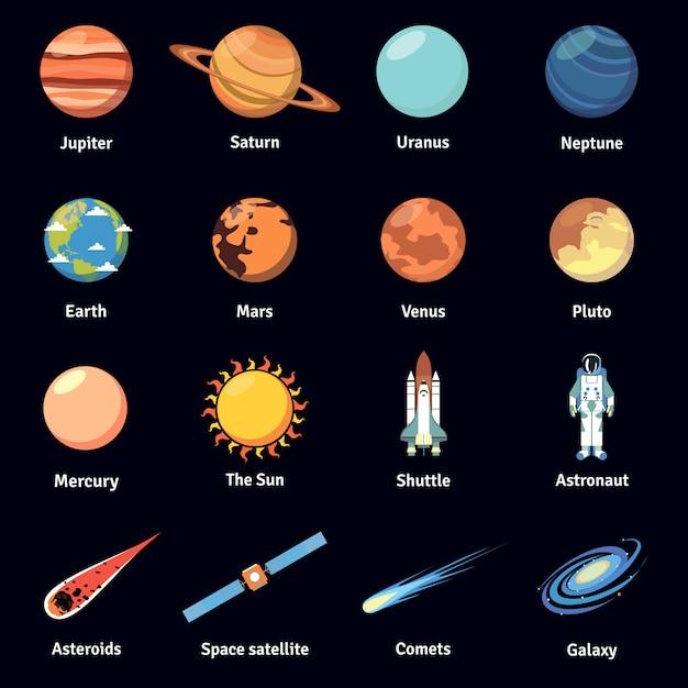 Multicolored cosmos icon set Free Vector