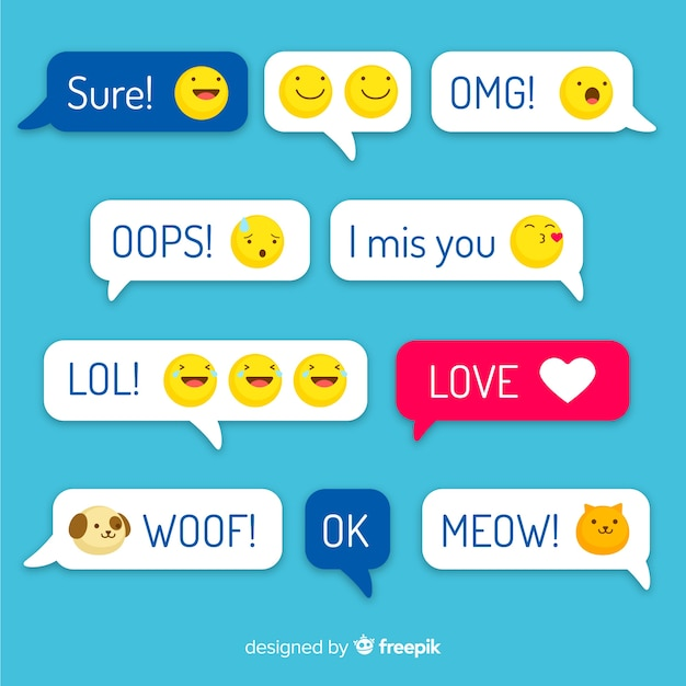 Multicolored flat design messages with emojis Free Vector