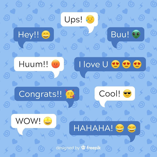 Multicolored flat design speech bubbles with emojis along expressions Free Vector