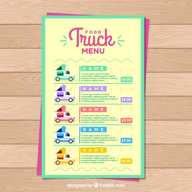 Multicolored food truck menu