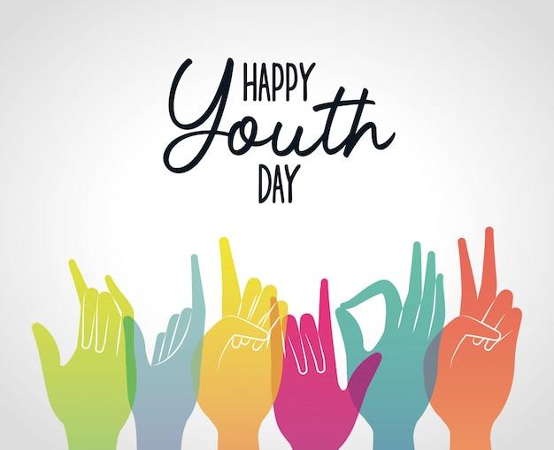 Разноцветные руки градиента счастливого дня молодости, иллюстрации темы молодого праздника и дружбы Premium векторы
