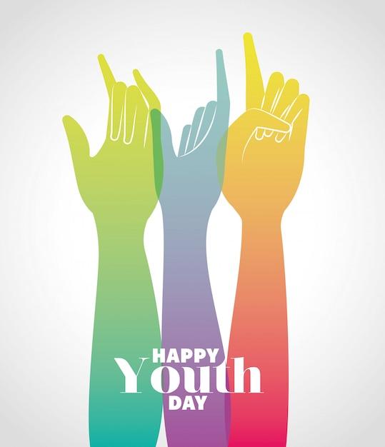 Разноцветные градиенты руки вверх счастливого дня молодежи, юных праздников и иллюстрации темы дружбы Premium векторы