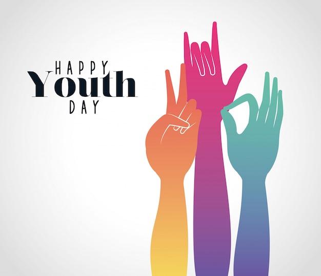 Разноцветный градиент руки вверх счастливого дня молодежи Premium векторы