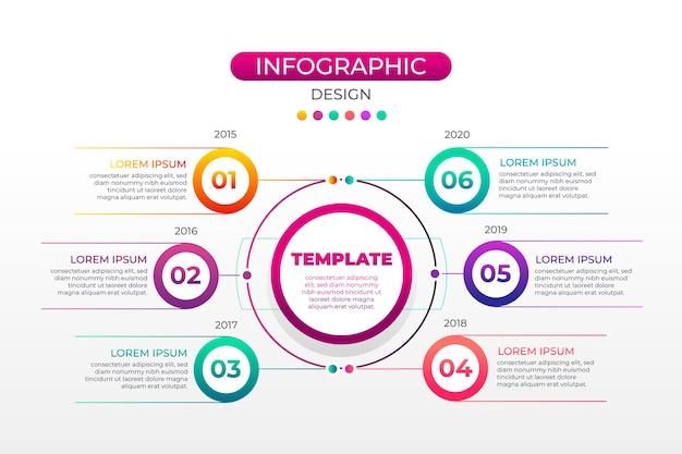 Разноцветный градиент инфографики с шагами Premium векторы