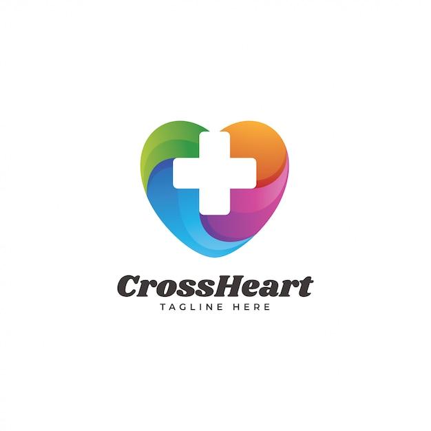 Multicolored heart and cross medical health logo Premium Vector