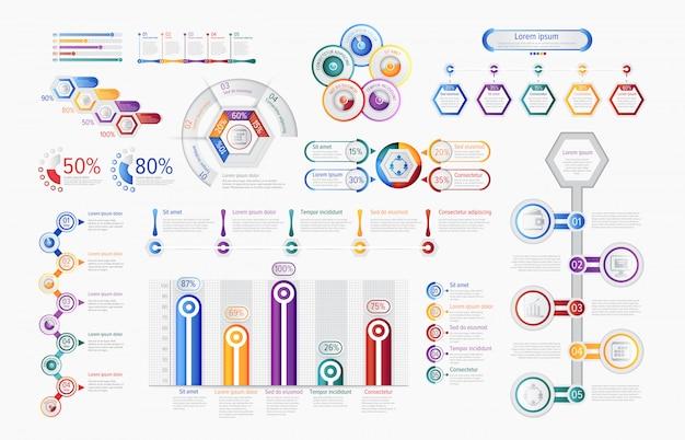 Multicolored infographic charts in set Premium Vector