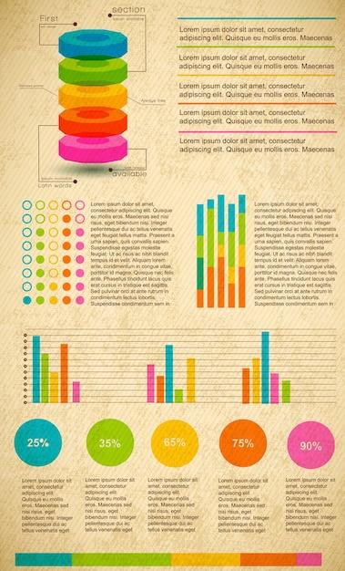 Набор разноцветных инфографики с различными типами текста графиков и процентным соотношением Бесплатные векторы