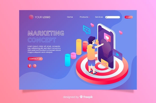 Multicolored isometric marketing concept landing page Free Vector