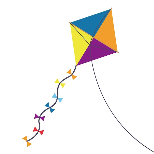 Multicolored kite toy with bowties icon Premium Vector
