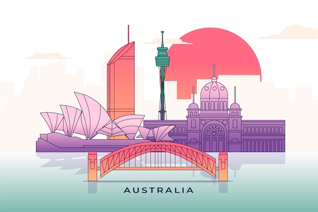 Multicolored landmarks skyline Free Vector
