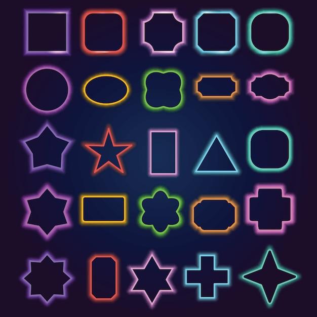 Multicolored neon border frames set Premium Vector