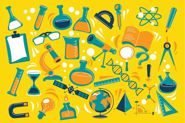 Multicolored science education background Free Vector