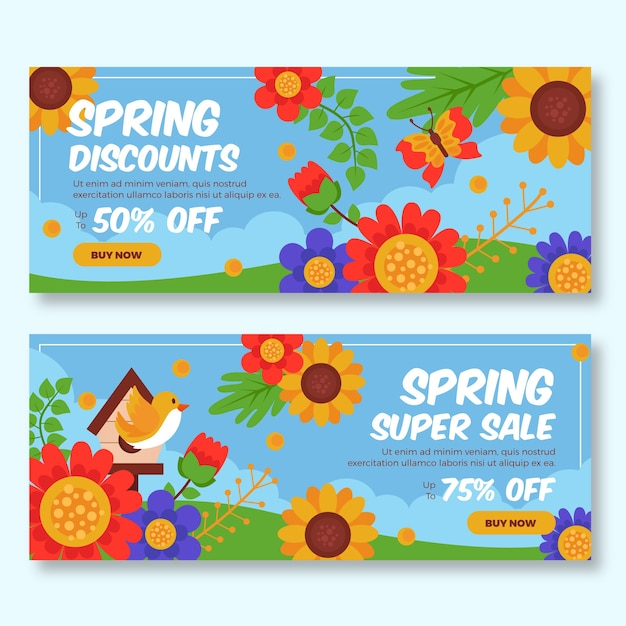 Multicolored spring sale banners Free Vector