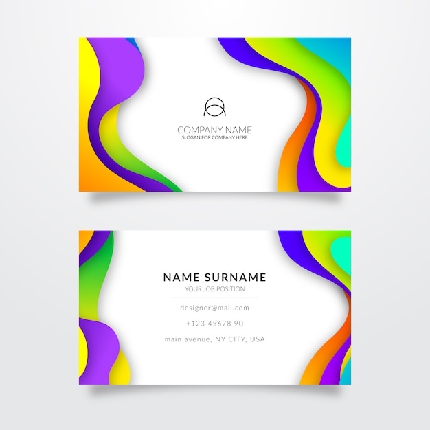 Multicolored template for business card Free Vector