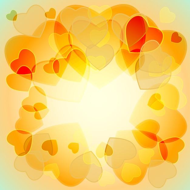 Разноцветные полупрозрачные сердечки Premium векторы