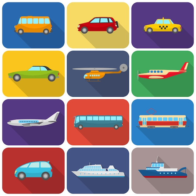 Multicolored transport icons flat Free Vector