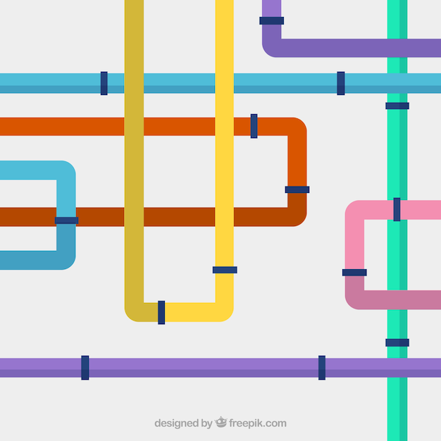 Multicoloured water pipelines Free Vector