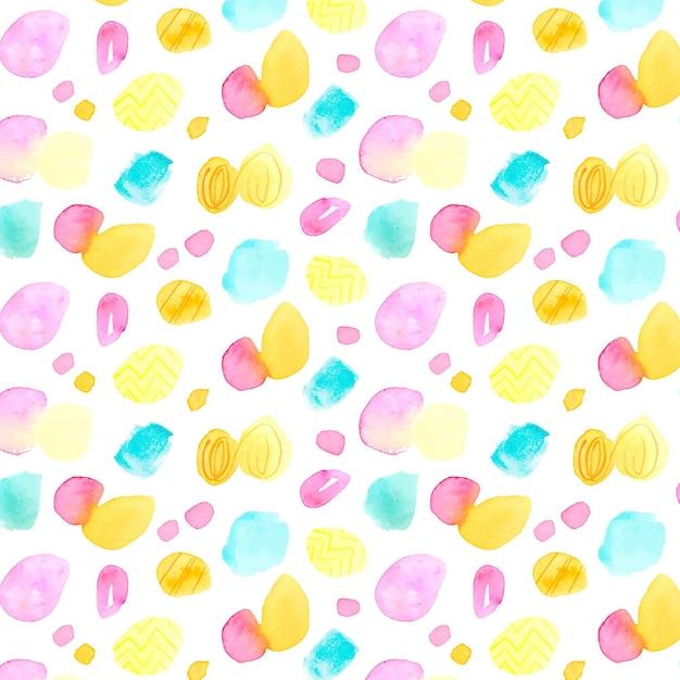 여러 가지 빛깔의 수채화 점이 패턴 무료 벡터