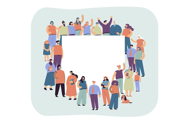 Multicultural crowd of people standing around blank banner flat illustration. Free Vector