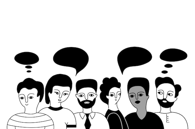 Multicultural group of men. Premium Vector