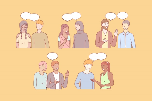 Multicultural society talking in different languages ...  Multicultural People Talking Together