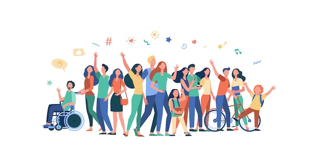 Multicultural people standing together Free Vector