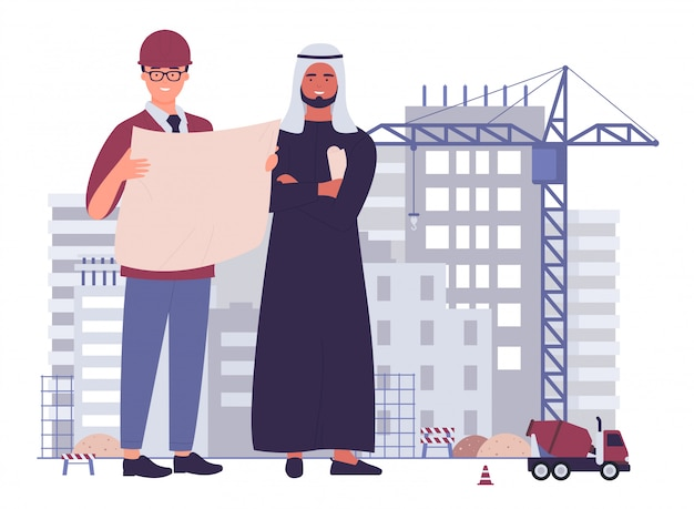 Multicultural team civil engineers at construction site flat character vector illustration concept Premium Vector