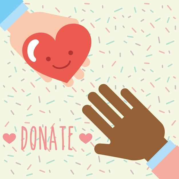 Multiethnic hands heart love kawaii donate charity Premium Vector
