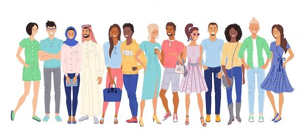 Многонациональный народ. изолированные случайных молодых взрослых мужчин и женщин мультипликационный персонаж группы граждан, стоящих вместе. толпа межрасовых и многоэтнических пар. вектор разнообразных многонациональных людей общества Premium векторы