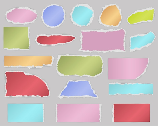 Multiform pieces of torn blank paper with shadow and different colors. Premium Vector