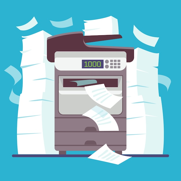 Multifunction office printer, computer scanner printing and copying paper documents Premium Vector