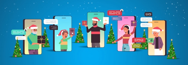 Multigenerated family in santa hats using chatting app social network chat bubble communication concept Premium Vector