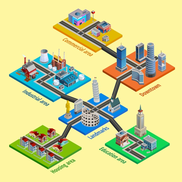 Multilevel city architecture isometric Free Vector