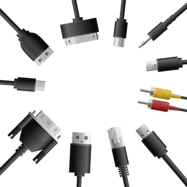 Multimedia cables round composition Free Vector