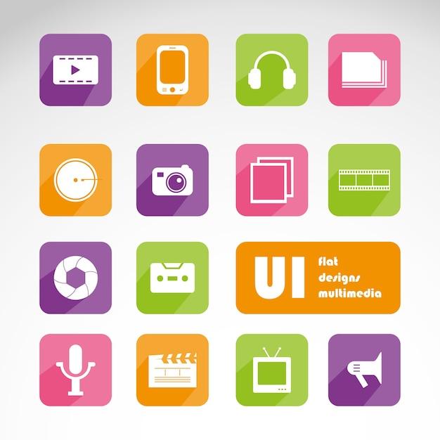 Multimedia flat ui kit set Premium Vector