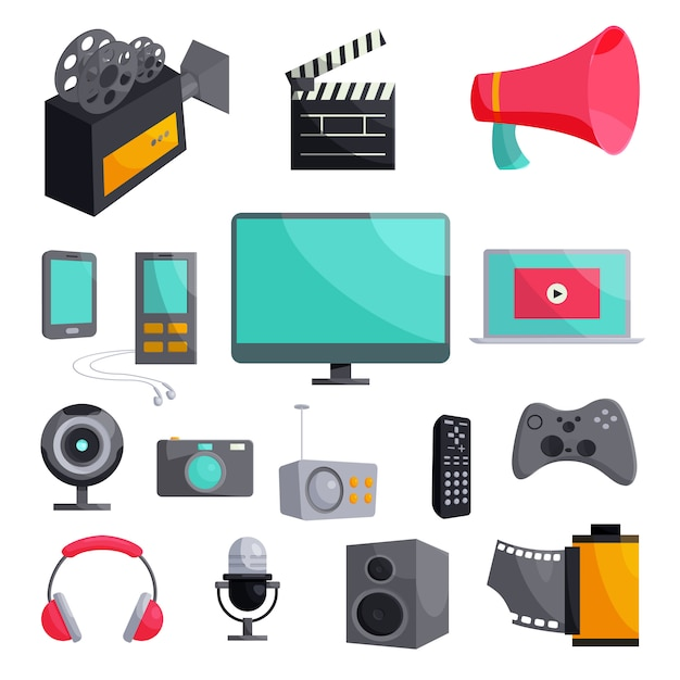 Multimedia icons set, cartoon style Premium Vector