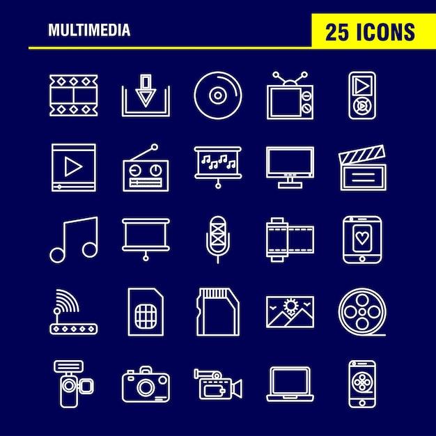 Multimedia icons set Premium Vector