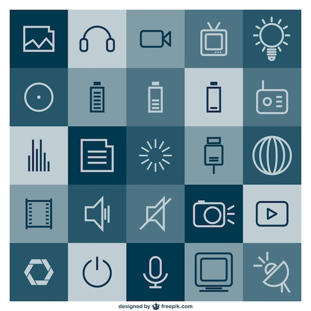 Multimedia icons Free Vector