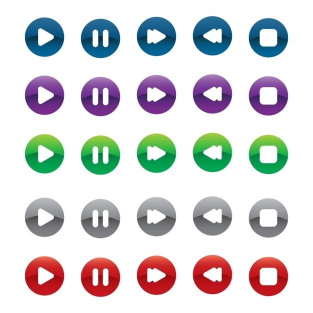 Multimedia option buttons Free Vector