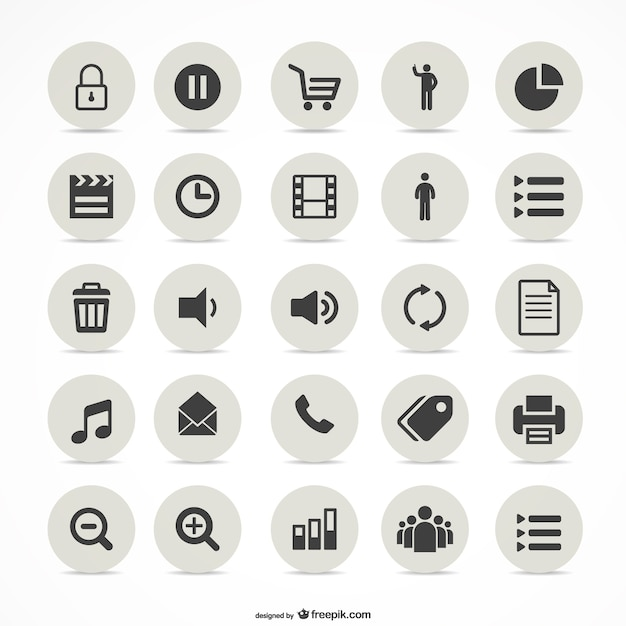 Multimedia simple icons set Free Vector