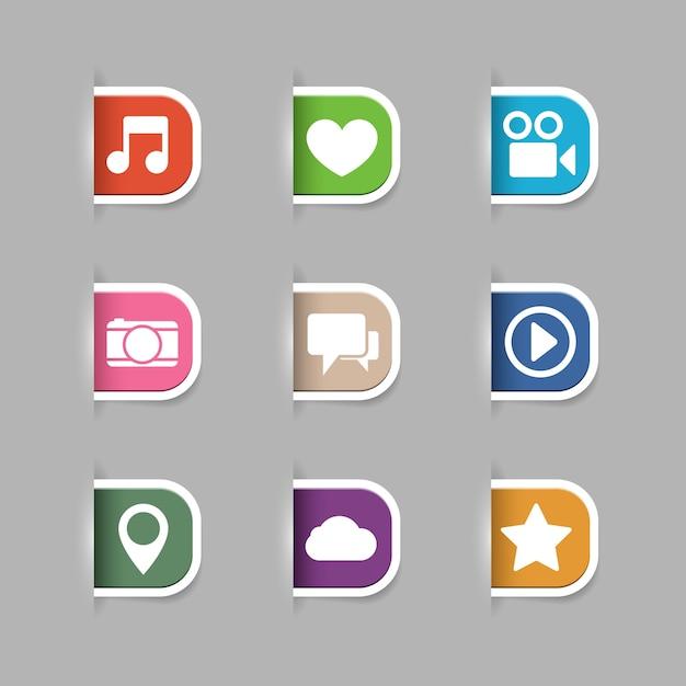 Raccolta schede multimedia Vettore gratuito