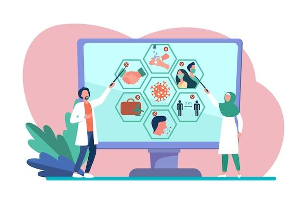 Multinational doctors presenting coronavirus infographics. scientists, research result, social distance flat vector illustration. epidemic, virus Free Vector