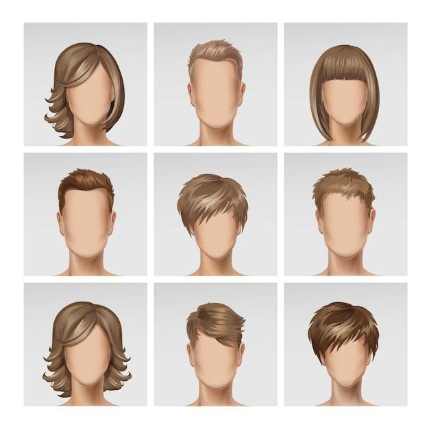 Многонациональное мужское женское лицо аватар профиль головы волосы икона set Premium векторы