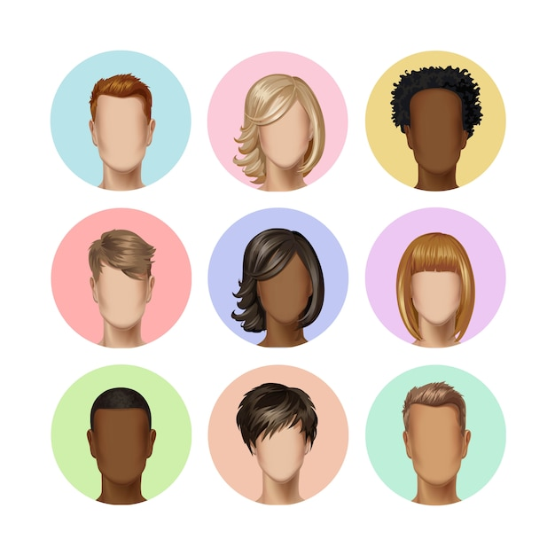 Многонациональное мужское женское лицо аватара профиль головы с разноцветными волосами набор изображений иконок на фоне Premium векторы