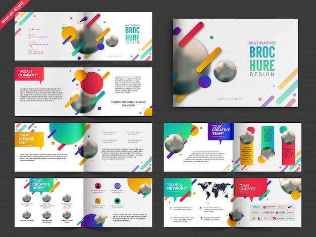Multipage brochure, leaflet design pack with colorful abstract design Free Vector
