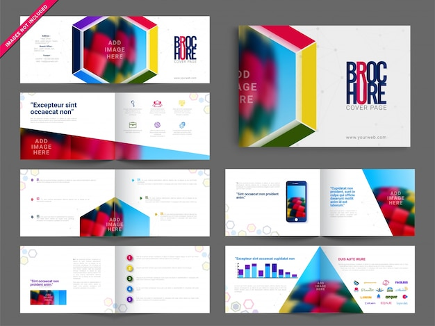 Multipage brochure, leaflet design pack with colorful abstract geometric design Free Vector